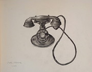 Telephone Drawings Framed Prints - Antique Telephone Framed Print by Carl Frankel