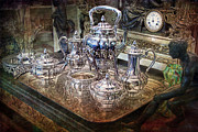 Gunter Nezhoda Metal Prints - Antique Tiffany Sterling Silver Coffee Tea set Metal Print by Gunter Nezhoda