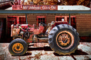 Blue Brick Posters - Antique Tractor Poster by Debra and Dave Vanderlaan