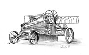 Machinery Drawings Originals - Antique Tractor by Linda Ginn