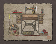 Kittens Digital Art Originals - Antique Treadle Sewing Machine With Kittens by Richard Neuman