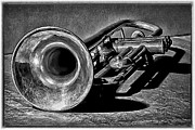 Trumpet Digital Art Metal Prints - Antique Trumpet Retro Metal Print by Walt Foegelle