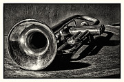Antique Digital Art Prints - Antique Trumpet Vintage Print by Walt Foegelle