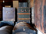 Leather Straps Prints - Antique Trunks 1 Print by Anita Burgermeister