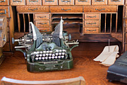 Oak Desk Prints - Antique type writer on desk Print by Gunter Nezhoda