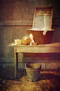 Chores Prints - Antique wash tub with soaps Print by Sandra Cunningham