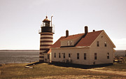 Ocean Images Framed Prints - Antique West Quoddy Lighthouse Framed Print by Skip Willits
