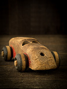 Child Toy Metal Prints - Antique Wooden Toy Car Metal Print by Edward Fielding