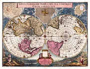 Cartography Photos - Antique World Map 1695 Novus Planiglobii Terrestris per Utrumque Polum Conspectus by Karon Melillo DeVega