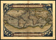 Old Map Mixed Media Prints - Antique World Map by Abraham Ortelius 1570 AD Print by Abraham Ortelius - L Brown