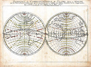 Longitude Framed Prints - Antique World Map Harmonie ou Correspondance du Globe 1659 Framed Print by Karon Melillo DeVega