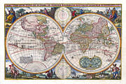 Cartography Photos - Antique World Map Orbis Terrarum Typus de Integro in Plurimis Emendatus 1657 by Karon Melillo DeVega
