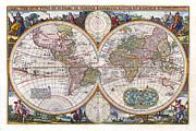 Antique World Map Orbis Terrarum Typus De Integro In Plurimis Emendatus 1657 Print by Karon Melillo DeVega