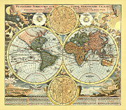 Antique Map Digital Art Posters - Antique World Mercator Map Poster by Gary Grayson