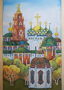 Orthodox Painting Framed Prints - Antiquity-Sergiev Posad-1 Framed Print by Khromykh Natalia