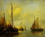 High Society Paintings - Antonie Waldorp Vissersboten op kalm water by MotionAge Art and Design - Ahmet Asar