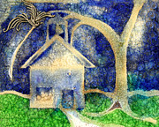 Illustration Glass Art - Anyone Lived In A Pretty How Town by Jane Autry