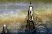 World Cities Digital Art Metal Prints - Anzac Bridge Metal Print by Holly Kempe