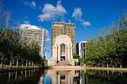 Anzac Framed Prints - ANZAC Memorial and Pool of Reflection Framed Print by David Hill