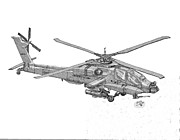 Helicopter Drawings - Apache by Calvert Koerber