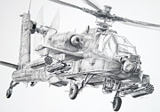 Helicopter Drawings Posters - Apache Poster by James Baldwin Aviation Art