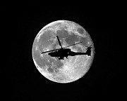Helicopter Digital Art Prints - Apache Moon Print by Al Powell Photography USA