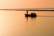 Apalachicola Prints - Apalachicola Oystermen at Sunrise Print by Bill Swindaman
