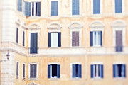 French Doors Framed Prints - Apartment Windows in Rome Framed Print by Kim Fearheiley