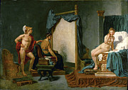 Famous Artists - Apelles Painting Campaspe in the Presence of Alexander the Great by Jacques-Louis David