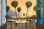 Balcony Painting Framed Prints - Aperitivo Al Tramonto Framed Print by Guido Borelli