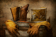 Gloves Metal Prints - Apiary - The Beekeeper  Metal Print by Mike Savad