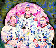 Neil Armstrong Moon Prints - APOLLO 11 MISSION - watercolor portrait Print by Fabrizio Cassetta