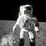 Astronomy Photo Prints - Apollo 12 Moonwalk - 1969 Print by World Art Prints And Designs