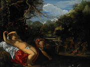 Reclining Female Nude Posters - Apollo and Coronis Poster by Adam Elsheimer