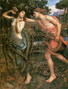 Waterhouse Paintings - Apollo and Daphne by John William Waterhouse