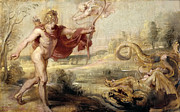 Famous Artists - Apollo and Python by Peter Paul Rubens
