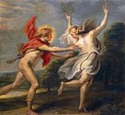Famous Artists - Apollo chasing Daphne by Cornelis de Vos
