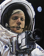 Universe Painting Prints - Apollo- For Mankind Print by Simon Kregar