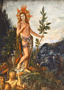 Moreau Paintings - Apollo Receiving the Shepherds Offerings by Gustave Moreau