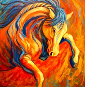 Abstract Horse Paintings - Apollo by Theresa Paden