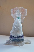 Selenite Posters - Apophyllite Angel Poster by LyndaStar Thompson