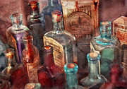 Curious Framed Prints - Apothecary - A Series of bottles Framed Print by Mike Savad