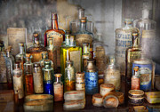 Bottles Prints - Apothecary - For all your Aches and Pains  Print by Mike Savad