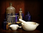 Medicine Bottle Posters - Apothecary - Mortar Pestle and Scales Poster by Paul Ward