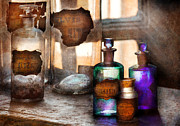Glass Bottle Prints - Apothecary - Oleum Rosmarini  Print by Mike Savad