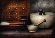 Bowl Prints - Apothecary - Pestle and Drawers Print by Mike Savad