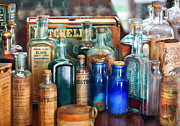 Bottles Framed Prints - Apothecary - Remedies for the Fits Framed Print by Mike Savad