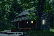 Log Cabin Art Digital Art Posters - Appalachia Nights Poster by Barry Jones