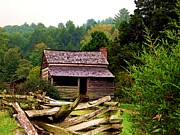 Mountain Cabin Posters - Appalachian Cabin with Fence Poster by Desiree Paquette