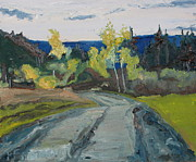 Gravel Road Paintings - Appalachian Fall Country Road Plein Air Oil Painting Art by Francois Fournier